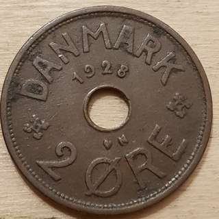 1928 Kingdom of Denmark 2 Ore Coin