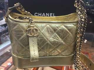正品 全新 Chanel Gabrielle 金色流浪包 小號