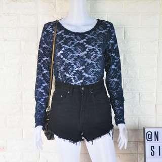 Blue lace LS top