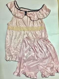 Night Pajamas/Baju Tidur/Lingerie Pink Lace Saten