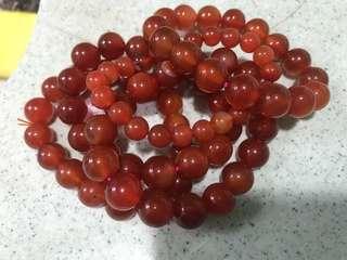 紅瑪瑙手串手鏈手鍊 red Agate beaded bracelet
