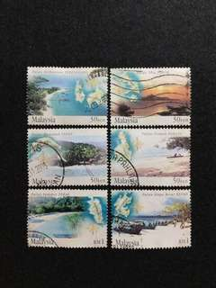 2002 Islands & Beaches Of Malaysia 6 Values Used Complete Set