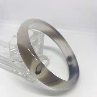 白色瑪瑙混灰色斑紋手鈪 手鐲 white Agate Bangle inner DIA: 61mm