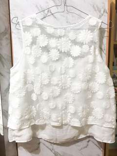 Sheer flower lace top