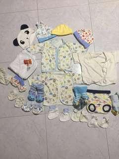 Newborn shirt, booties, mittens and hats