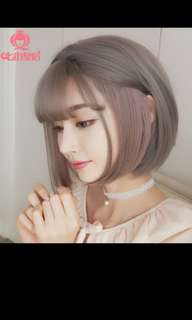 Preorder korean air fringe Ash grey highlight Bobo ladies wig * waiting time 15 days after payment is made * chat to buy to order