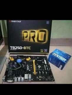 TB250-BTC PRO (6 slots) & Processor (Intel Pentium G4400)
