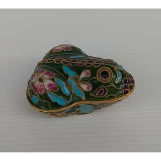 Vintage Chinese Cloisonne Frog Statue Gold Plated Brass Enamel Toad Figurine Jewelry Trinket Box Jar