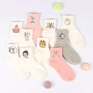 [PO] assorted cartoon embroidered high socks