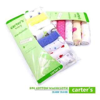"""CARTER'S 8PC set WASHCLOTH 💰260 --------------------------------- -* Set of 8 soft cotton washcloths 9""""x 9"""" -* Soft and smooth for baby's tender skin -* Practical and perfect for bath time -* Bright color prints in assorted patterns *z.i"""