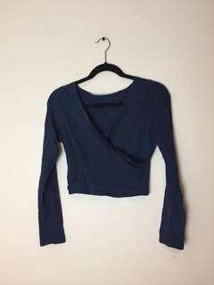 Navy crop with cross over front