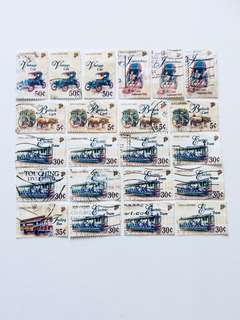 22 Old Transport Stamps