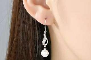 珍珠耳環貝珠 s925銀 水鑽