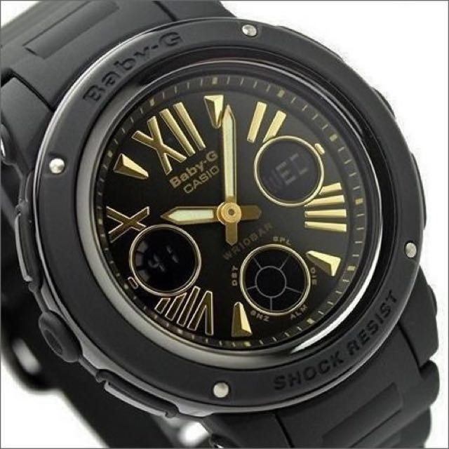 9a6afebde472 Authentic Brand New Casio Baby-G BGA-153-7A Black Gold Analog ...