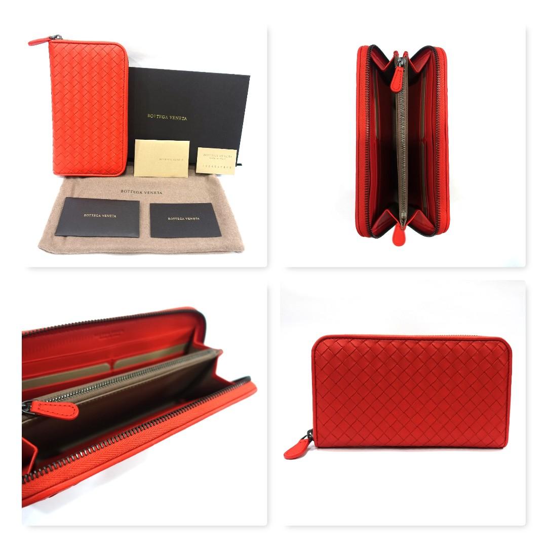 fc118907acee77 BNIB Bottega Veneta Zip Around Wallet in Geranium, Women's Fashion ...