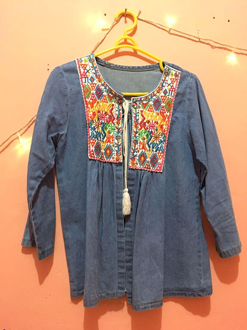 Cardigan wanita jeans embroidery bordir