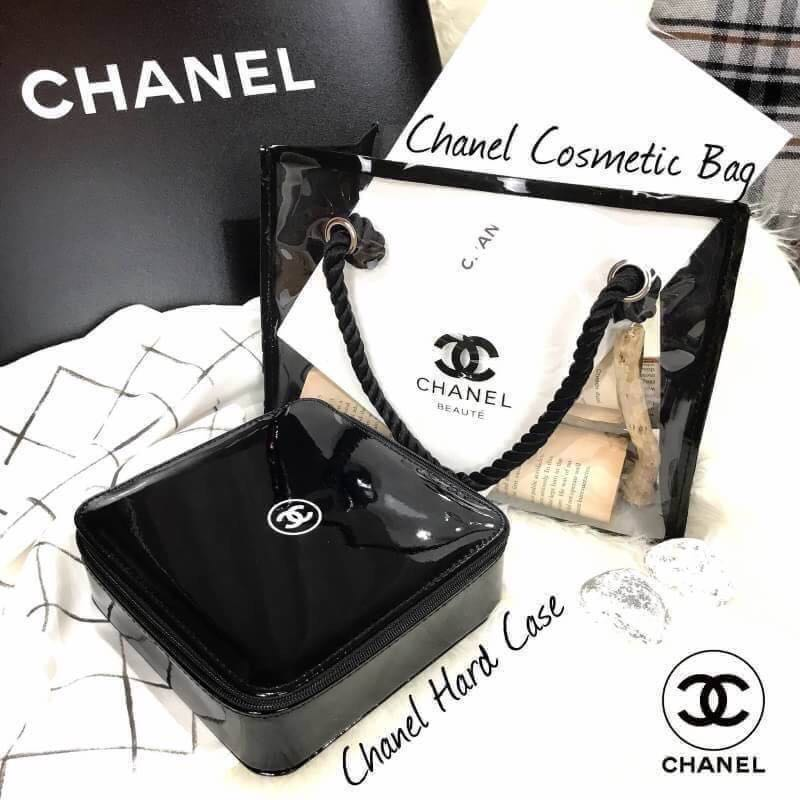 09c1eb61af7a Chanel vip beauty clear transparent cosmetics bag and chanel hard ...