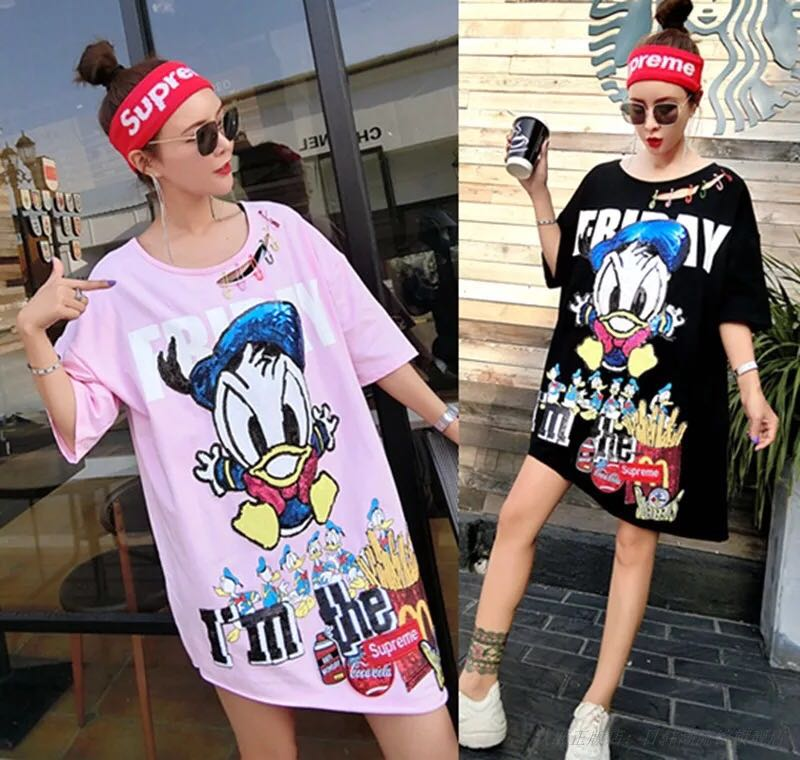 90a778ef70ca Donald sequins Oversize Tshirt dress, Women's Fashion, Clothes ...