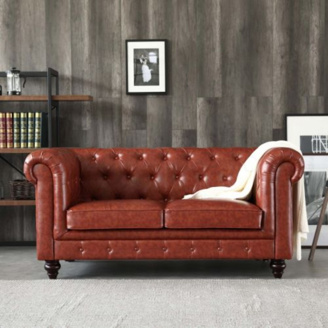 1c6d0d9c42c3 Hugo 2 Seater Chesterfield Sofa - Vintage Brown Leather, Furniture, Sofas  on Carousell
