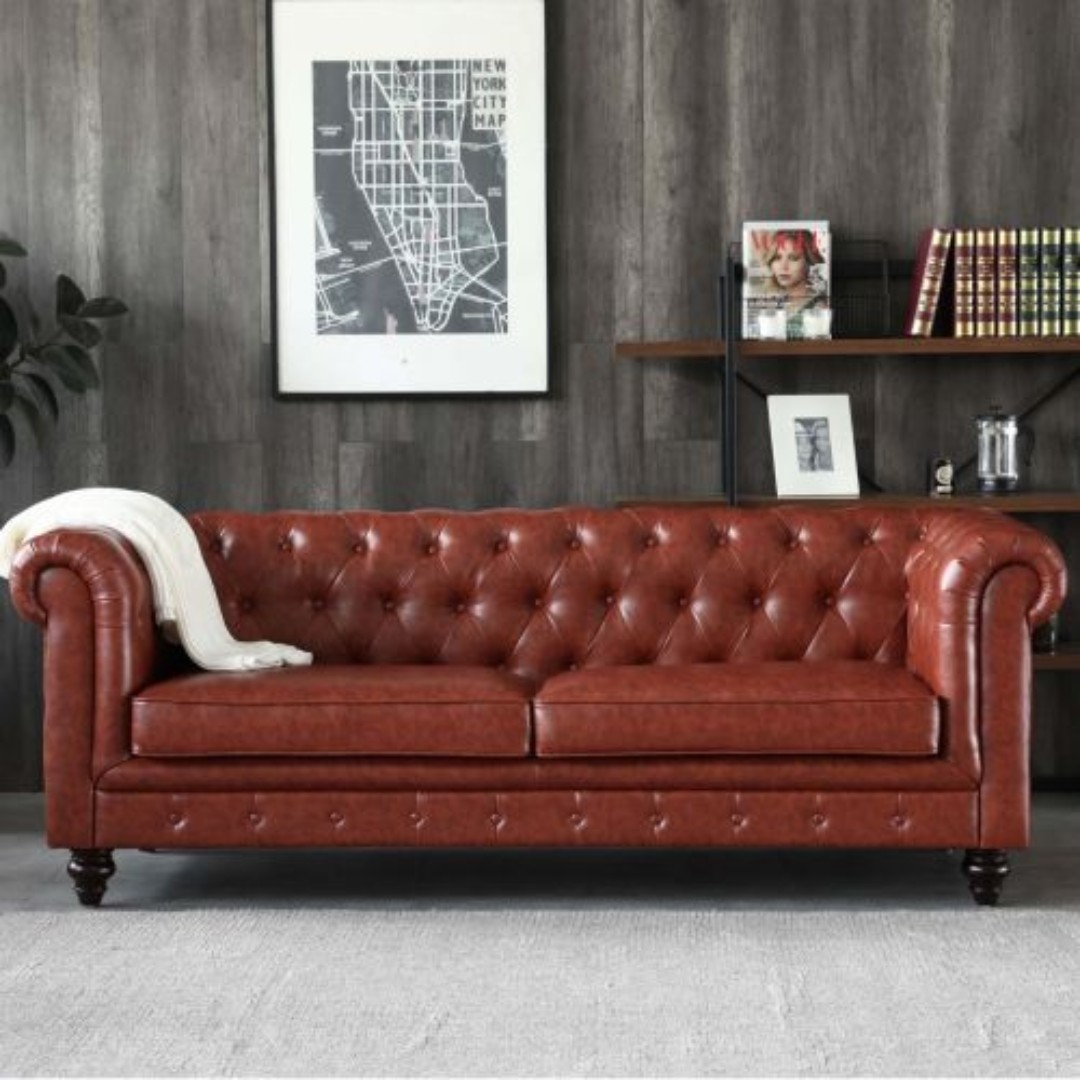 Hugo 3 Seater Chesterfield Sofa Vintage Brown Leather Furniture