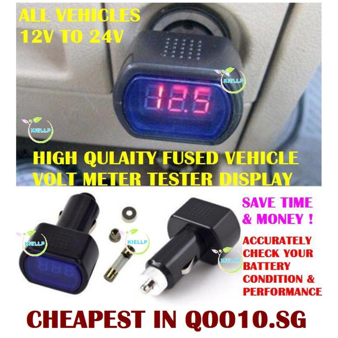 Kibot High Quality Fused Vehicle Battery Volt Meter Tester Led