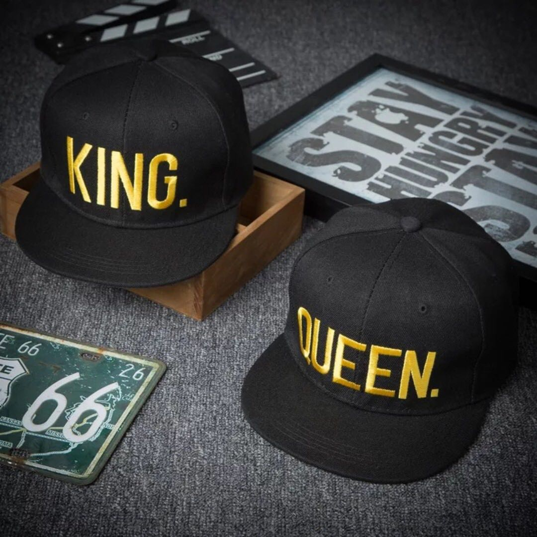 6a4cb7aba5b King and Queen 3D Embroidered Couples Caps (Comes in a pair)