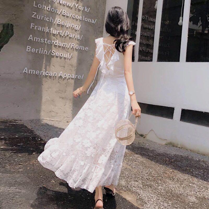 ea7bf31445 Lace Off Shoulder V Neck Cross Lace Up Bare Back Maxi Skater Dress ...