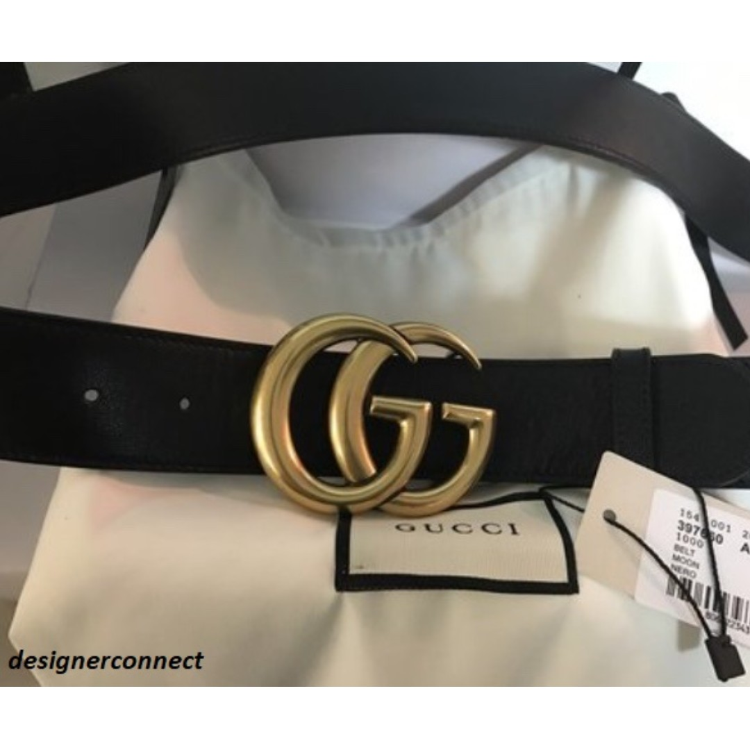 e32338daa6 Leather belt with Double G buckle