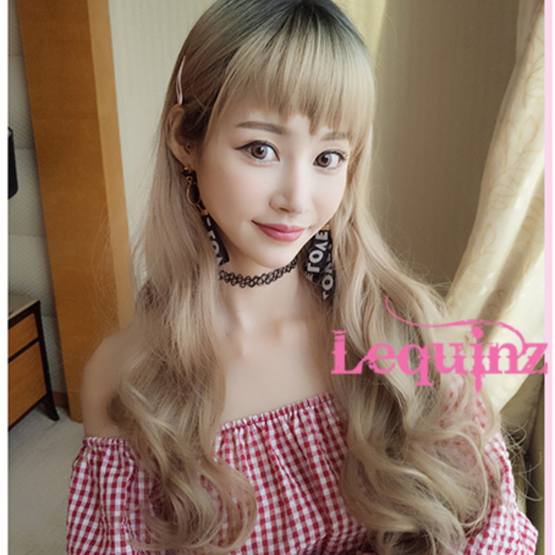 Choppy Bangs Long Wavy Hair Wig Ombre Black To Butter Blonde