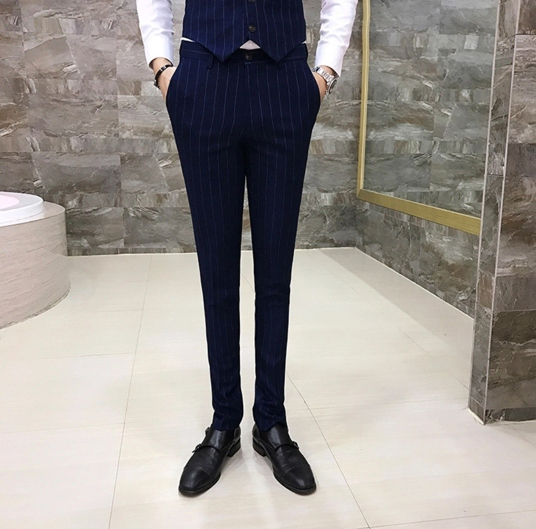Men plaid pants stripe slim fit pants navy blue grey black Burgundy