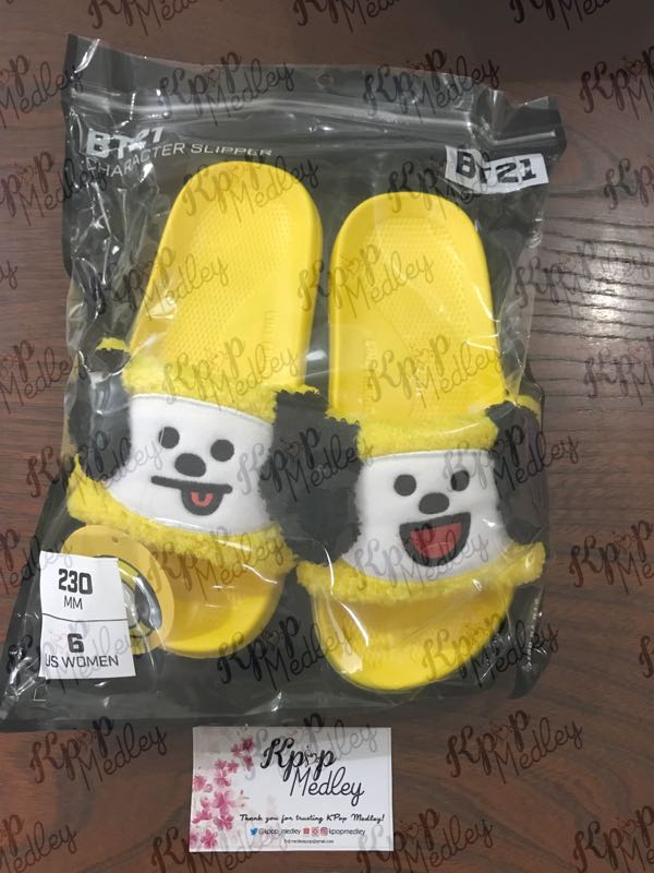 3aba8b09cb89 (ON HAND) Official BT21 Boucle Character Slippers - Chimmy Size 6