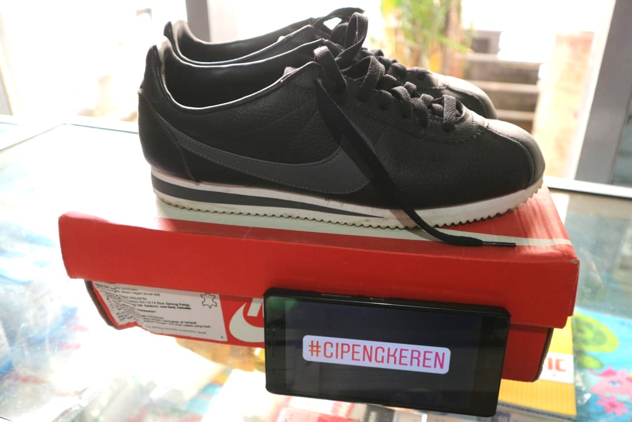 Ori Nike Cortez Leather Black Preloved Fesyen Pria Sepatu Di Carousell