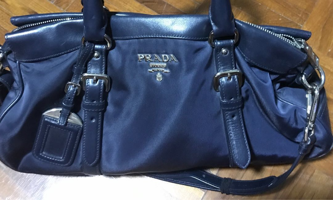 e217e29a2630 Preloved Prada Tessuto Soft Calf Shopping Bag - SG