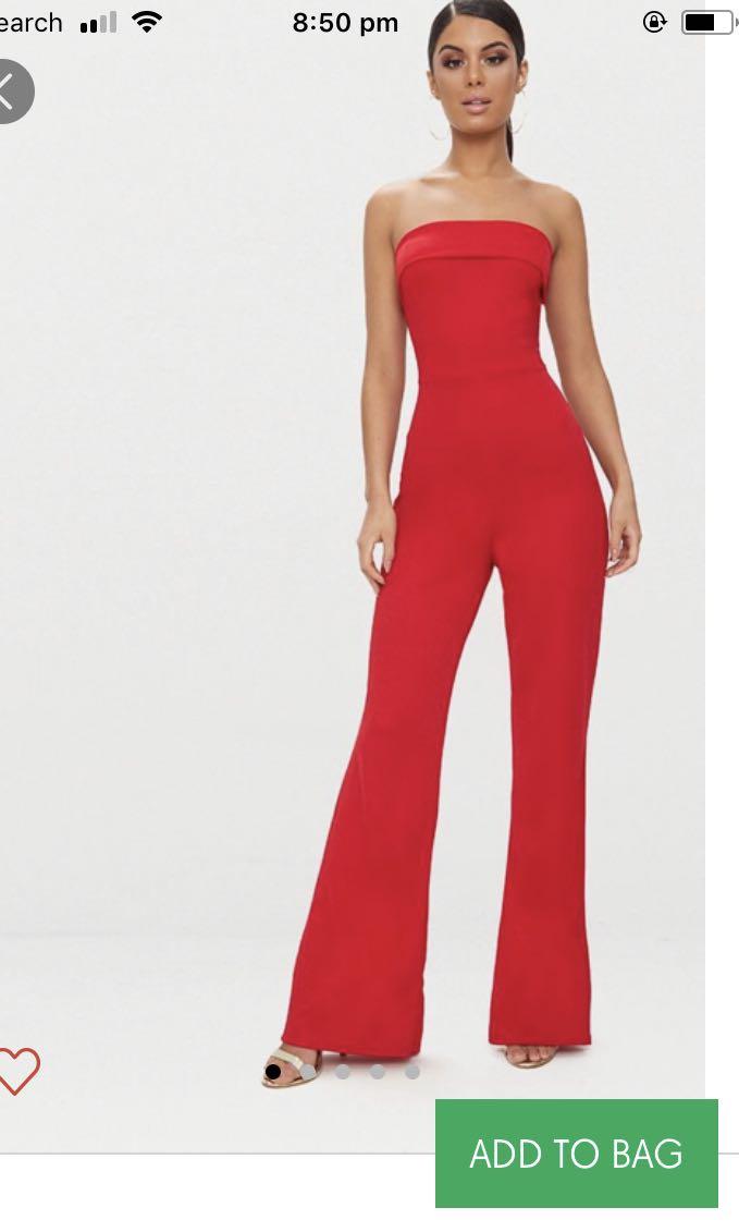9a92b9de82f Red Strapless Jumpsuit