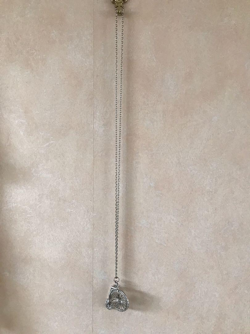 Silver penny farthing necklace