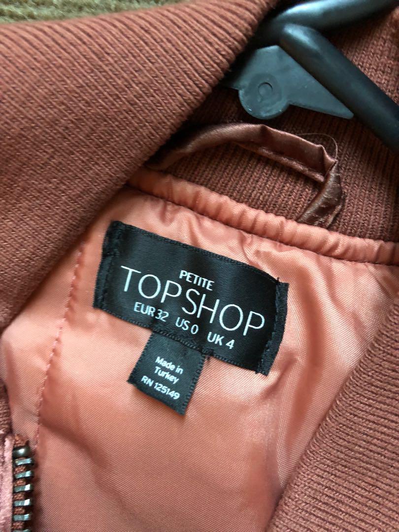 Topshop rose gold bomber jacket