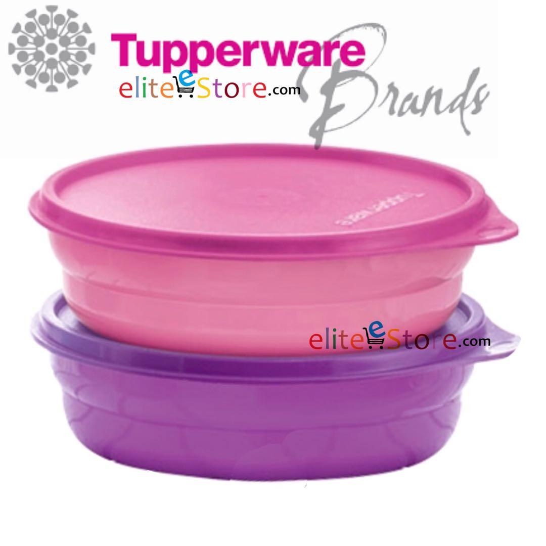 TUPPERWARE EzyRound Lunch Box 2in1 Set [PinPur] 500ml x2