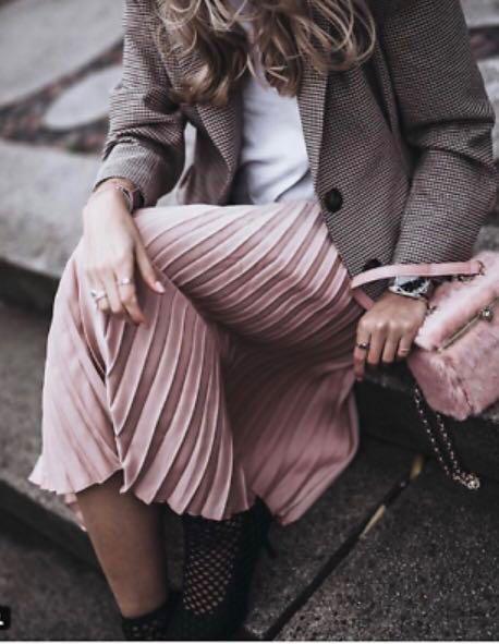 Zara Midi Pleated Skirt in Metallic Teal XS