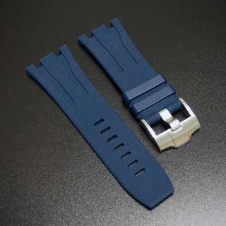 (301) 全新 30mm Audemars Piguet (AP)海軍藍橡膠代用錶帶配精鋼針扣 44mm Royal Oak Offshore 專用
