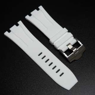 (302) 全新 30mm Audemars Piguet (AP)白色橡膠代用錶帶配精鋼針扣 44mm Royal Oak Offshore 專用