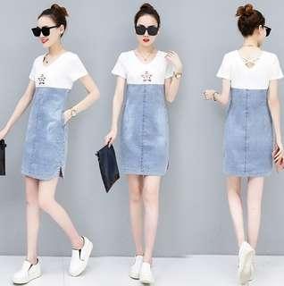 81541 #新款短袖休閒牛仔連身裙  颜色:白色 灰色  尺码:S M L XL 2XL