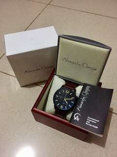 JAM TANGAN ALEXANDRE CHRISTIE AC6267 BLACK BROWN LEATHER