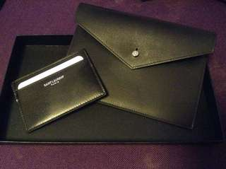 全新YSL card holder and pouch 連盒