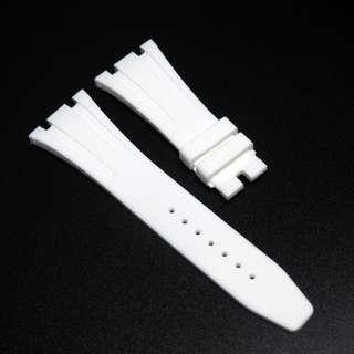 (272) 全新 27mm Audemars Piguet (AP)白色矽膠代用錶帶配精鋼摺扣 41mm Royal Oak Offshore 專用