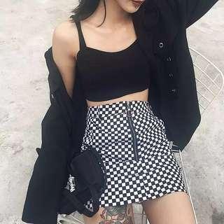 🚚 原宿風黑白格子拉環裙#女裝半價拉