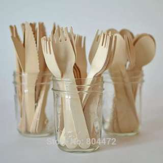 25 Sets Wedding Even Party Supplies Disposable Wooden Spoons | Knives | Forks Dessert Flatware
