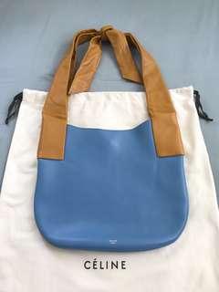 Celine brown and blue leather tote bag handbag shoulder bag 啡 藍 皮 手袋