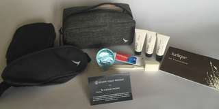 Cathay Pacific business class Seventy Eight Percent amenity kit, grey / gray colour. NEW AND UNUSED, fabric construction with zipper.