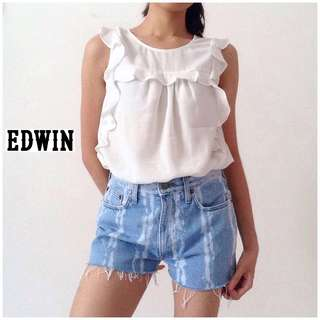 Edwin Tie-dye Denim Jeans Shorts Light Washed Blue High Waisted Pants