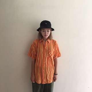 🚚 橘色直條紋短襯衫🔥任選兩件減100💵古著vintage🔥